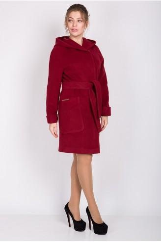 """Пальто с капюшоном """"ALBA"""" вишневое"""