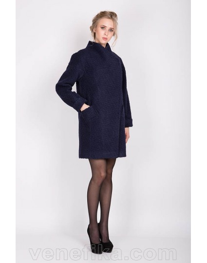 """Демисезонное пальто """"IVANKA"""" букле синее"""