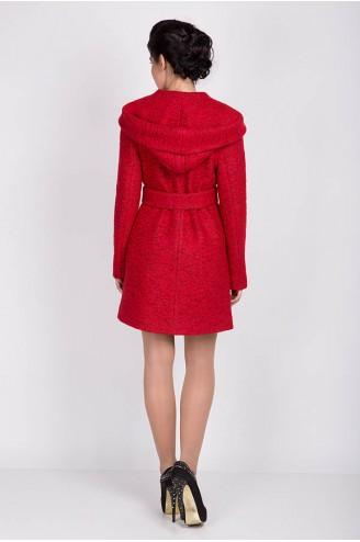 """Демисезонное пальто """"MELANKA"""" букле красное"""