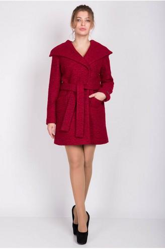 """Демисезонное пальто """"MELANKA"""" букле темно-красное"""